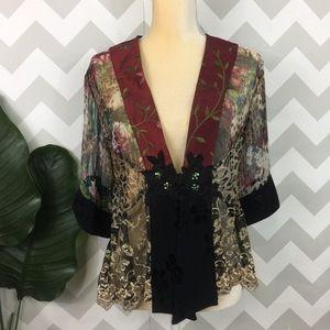 Vintage gypsy boho chic open cardigan top